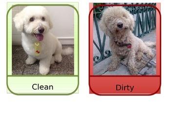 Opposite flashcards - Dog theme