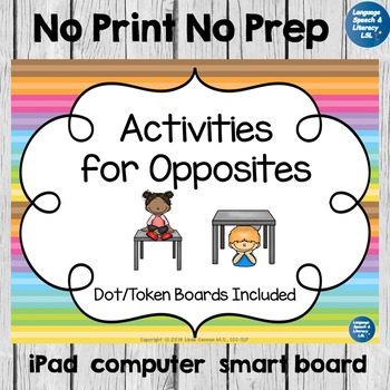 Activities for Opposites - No Print - Teletherapy