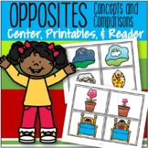Opposites Centers, Printables and Reader for Preschool and Pre-K