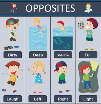 Opposites / Adjectives - Poster, Flashcards, Bingo, Worksheets
