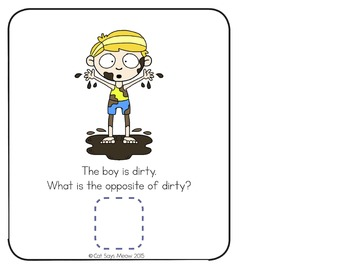 Opposites Interactive Pack! Book + No Prep worksheets (antonyms)