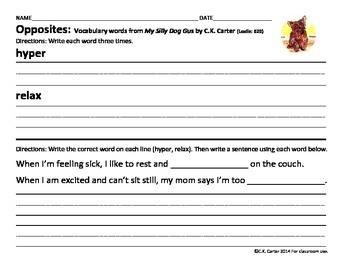 My Silly Dog Gus: Opposites, Antonyms & Reading Response