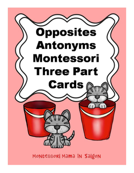 Opposites Antonyms Montessori Three Part Vocabulary Cards - color clip art
