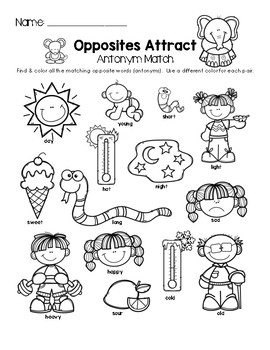 Opposites Attract - Antonym Match Worksheet