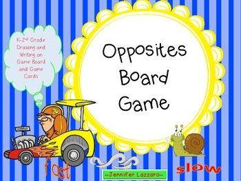 Opposites Board Game for Primary *Folder Game with Drawing
