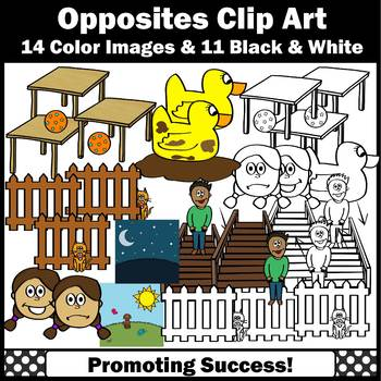 Opposites Clipart, Antonyms Commercial Use SPS