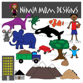 Opposites Clip Art- Big and Little in Color and Black Line
