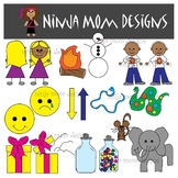 Opposites Clip Art in Color and Black Line