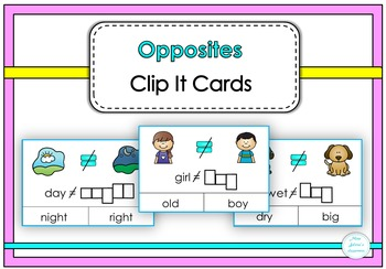Opposites Clip It Cards