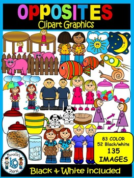 ANTONYMS (Opposites) Clip Art Graphics-46 WORDS-Commercial and personal use