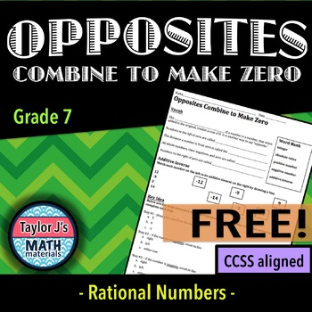 Opposites Combine to Make Zero Worksheet
