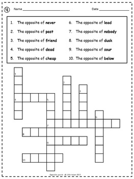 ESL Opposites  Crossword Puzzles