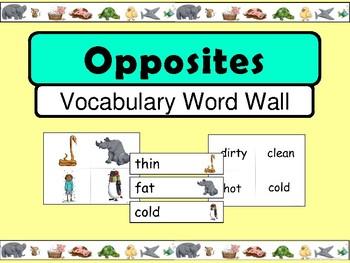 Opposites ESL Vocabulary Word Wall