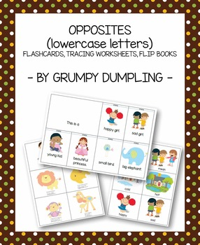 Opposites - Flashcards, Tracing Cards, Flip Books (lowerca
