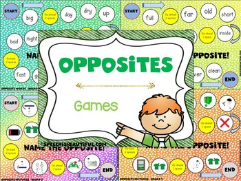 Opposites Flashcards and Trail Games - NO PREP & COLOR TOO!