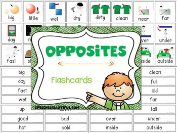 Opposites Flashcards and Trail Games - NO PREP & COLOR