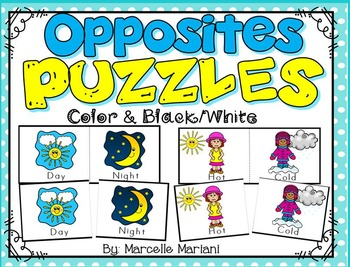Opposites MATCHING PUZZLES CENTER ACTIVITY-Matching opposites