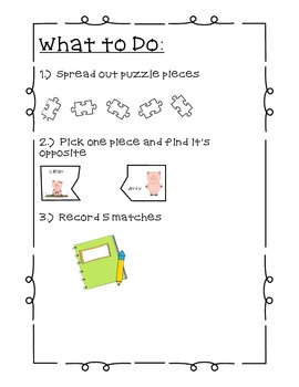 Opposites Matching Puzzles - word work (Common Core Aligned)