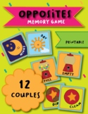 Opposites Memory Game (Pairing Cards, Flashcards)