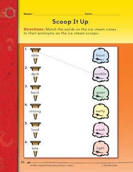 Opposites--Scoop It Up Literacy Center (eLesson)