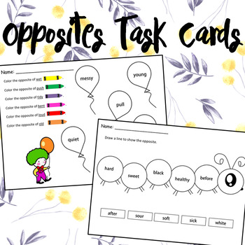 Opposites Task Cards English & Spanish