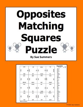 Opposites Vocabulary 4 x 4 Matching Squares Puzzle