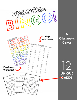 Opposites Vocabulary Sheet and Bingo - 12 Cards, for English Language Learners