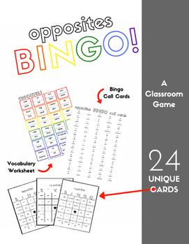 Opposites Vocabulary Sheet and Bingo - 24 Cards