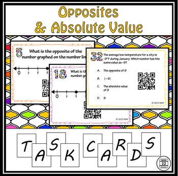 Opposites and Absolute Value Task Cards