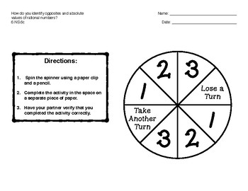 Opposites and Absolute Values Game 6.NS.6c