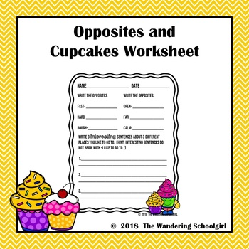 Opposites and Cupcakes Worksheet