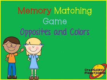 Opposites and colors matching memory game