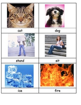Opposites antonyms ESL real pictures matching memory center COMMON CORE
