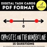 Opposites on the Number Line - 6.NS.6a - Digital Task Cards PDF Format - Easel