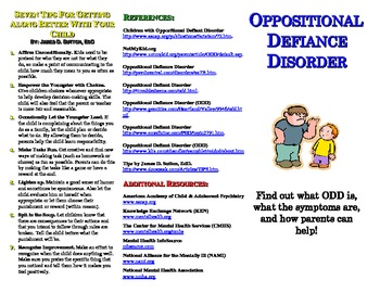 oppositional defiance disorder odd pamphlet by nachoteacher tpt