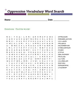 Oppression Vocabulary Word Search