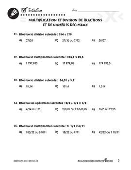Opérations: Multiplication et Division de Fractions et Nombres Décimaux An. 6-8