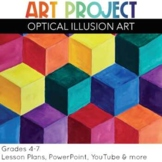 Art Project Optical Illusion 3D Cubes for elementary and middle school