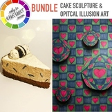 Optical Illusion Art project with rubric and Cake Sculpture without clay