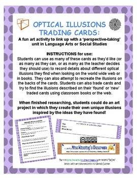 Optical Illusions Trading Cards & Art activity