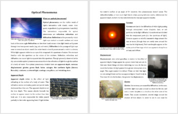 Optical Phenomena - Science Reading Article - Grade 8 and Up