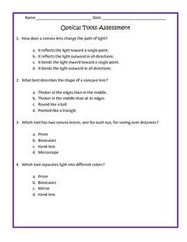 Optical Tools & Lenses Assessment 4th Grade Science