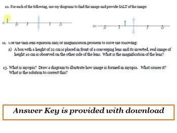Optics Unit - Test Questions & Answer Key