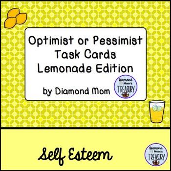 Optimist or Pessimist Task Cards Lemonade Edition