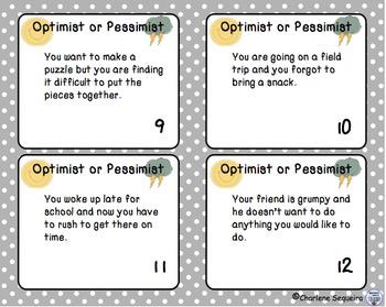 Optimist or Pessimist Task Cards Weather Edition