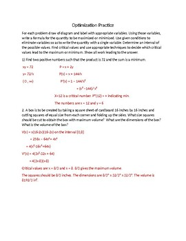 Optimization Practice Worksheet and Detailed Answer Key by ...