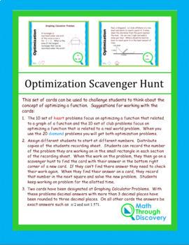 Calculus:  Optimization Scavenger Hunt