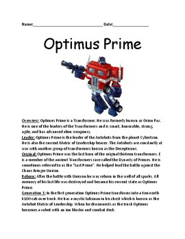 Optimus Prime - Transformer lesson article facts information review questions