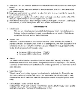 Optional ELA/Social Studies Homework for students to use YEAR ROUND!