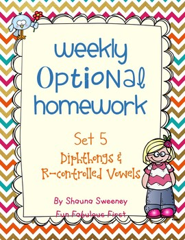 Optional Homework- Diphthongs and R-controlled Vowels